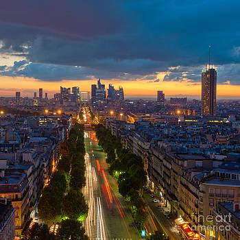 Panorama of Paris at sunset by Konstantin Kalishko