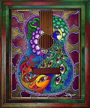 Peacock - Fish Guitar by Julie Oakes