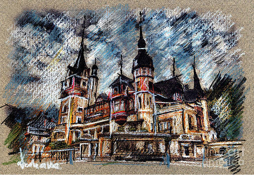 Peles Castle Romania Drawing by Daliana Pacuraru