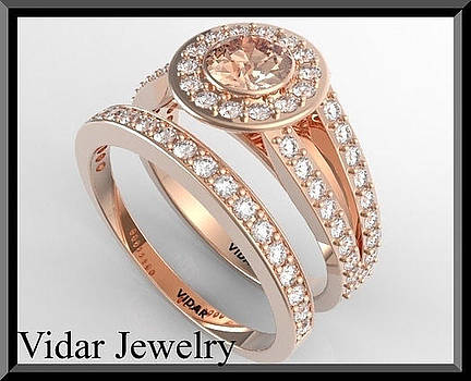 Pink Morganite And Diamond 14k Wedding Ring And Engagement Ring Set by Roi Avidar
