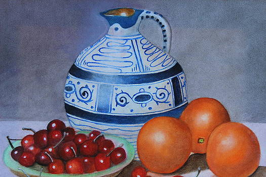 Pitcher with oranges and cherries by Christine McMillan