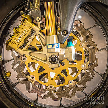 Ian Monk - Racing Bike Wheel with Brembo Brakes and Ohlins Shock Absorbers - Square - Black and White