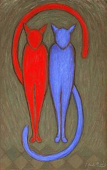 Red and blue cats  by Paul Daly