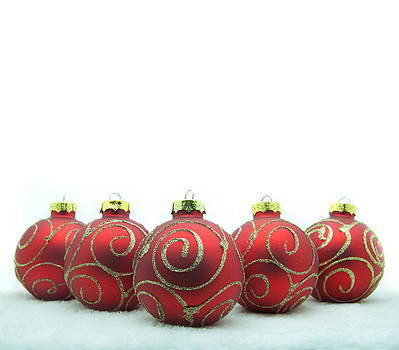 Red christmas balls. by Suphakit Wongsanit
