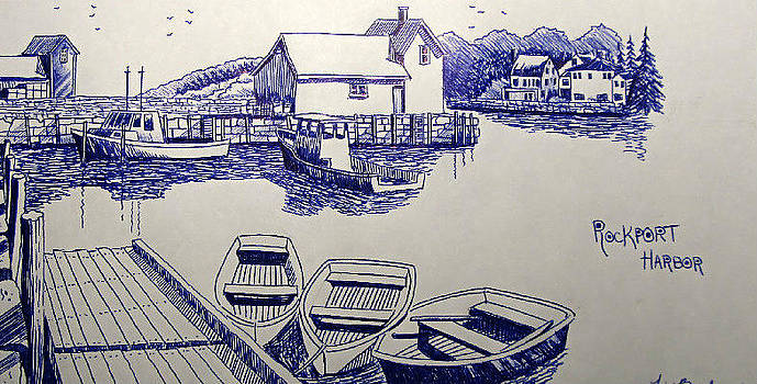 Rockport Harbor Sketch by Timothy Bettcher
