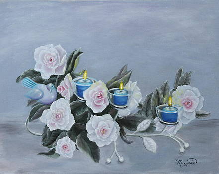 Roses and Candlelight by Lou Magoncia