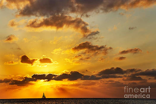 Jo Ann Snover - Sailboat at sunset
