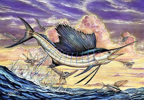 Sailfish And Flying Fish In The Sunset by Terry Fox