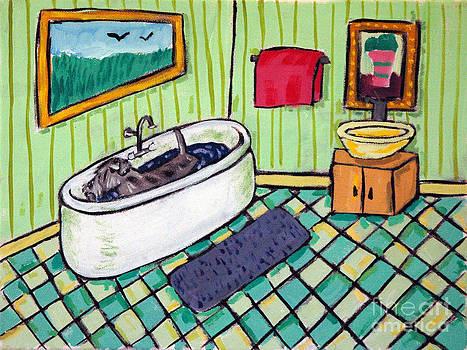 Schnauzer Taking a Bath by Jay  Schmetz