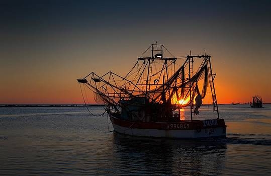 Shrimpboat Sunset by Ron  Maxie