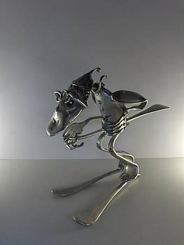 Skieur En Descente  by Dalu sculpteur Anticonformiste