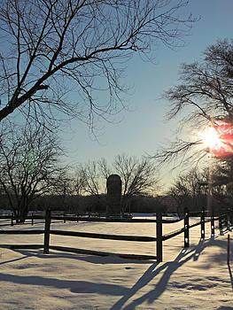 Kimberly Perry - Snowy Farm Scene at Seatuck Lane