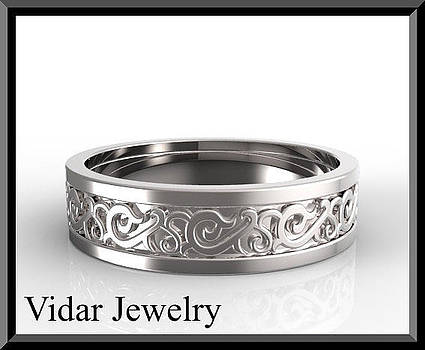 Statement 14k White Gold Men's Wedding Ring by Roi Avidar