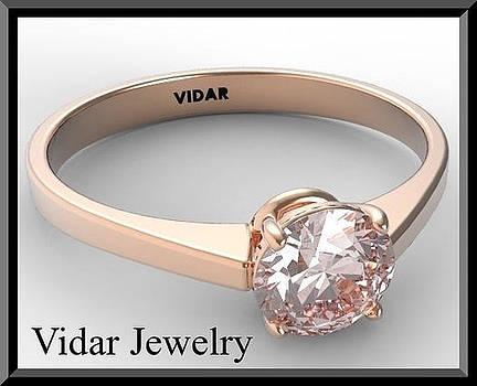 Statement Pink Morganite Solitaire 14k Rose Gold Engagement Ring by Roi Avidar
