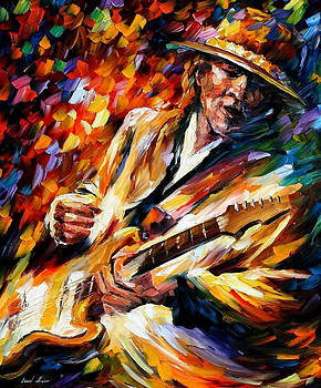 Stevie Ray Vaughan - PALETTE KNIFE Oil Painting On Canvas By Leonid Afremov by Leonid Afremov