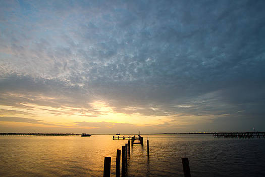 Sunset At A Weathered Pier At Port Charlotte Harbor Near Punta  by Fizzy Image