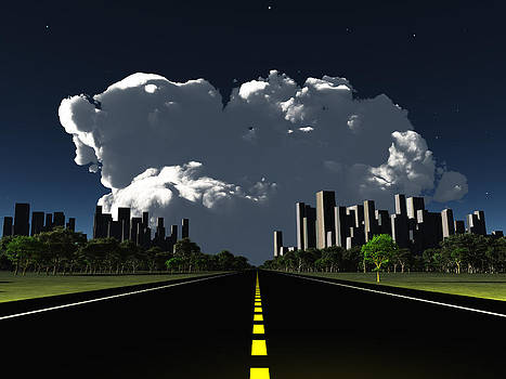 Surreal city night roadway by Bruce Rolff