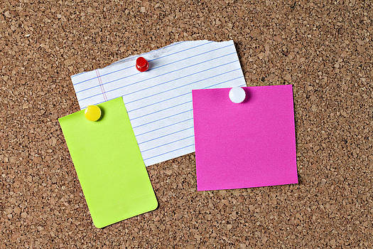Three colorful blank notes on corkboard by Heather Reeder