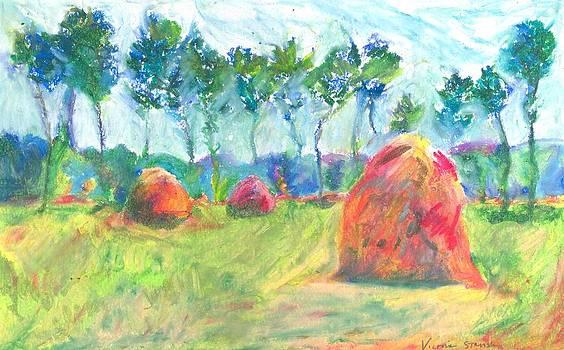 Three Haystacks Influenced By Monet by Victoria Stavish