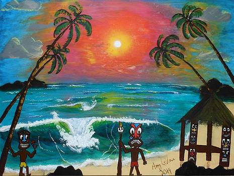 Tiki Art Painting by Amy LeVine