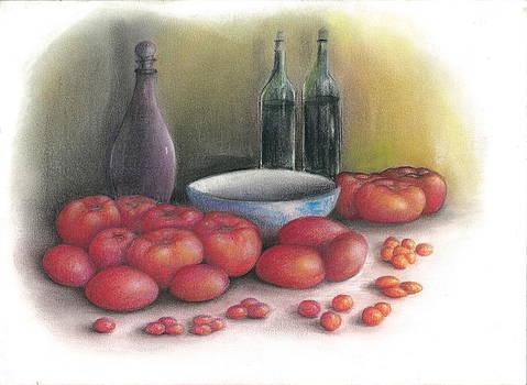 Tomatoes and Vino by Jim  Romeo