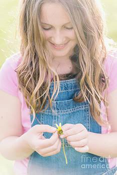 Tween Girl With Daisy by Gillian Vann