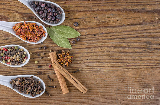 Various spices in porcelain spoons by Palatia Photo