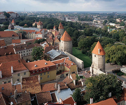 Cliff Wassmann - View from above of Old Town Tallinn Estonia
