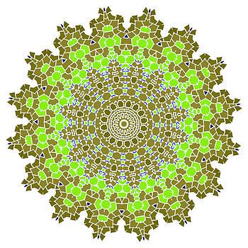 Vintage green with brown mosaic petal flower by Larisa Karpova