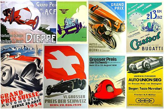 Vintage Race Cars Collage Two by Don Struke