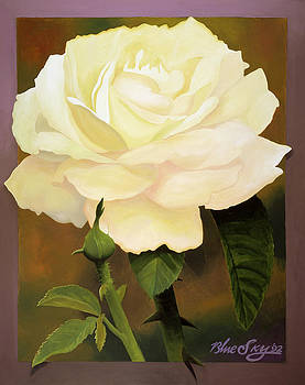 Yellow Rose by Blue Sky