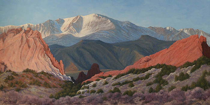 120402-1836 Pikes Peak from the Garden of the Gods by Kenneth Shanika