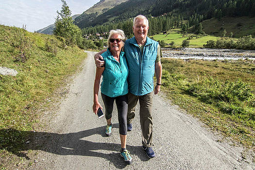 Senior Couple Hiking, Haute Route by Suzanne Stroeer
