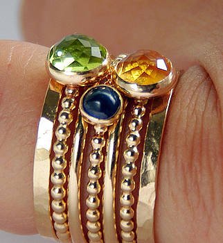 14k GOLD FILLED Peridot Citrine Sapphire Stackable Birthstones Mothers rings mommy Rings by Nadina Giurgiu