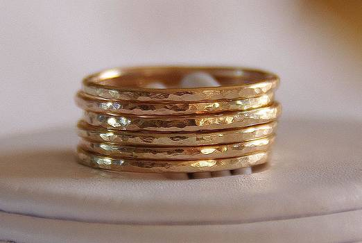 14K Gold filled Stacking Stackable Rings wedding bands  Set of SIX sizes 4 5 6 7 8 9 10 11 12 by Nadina Giurgiu