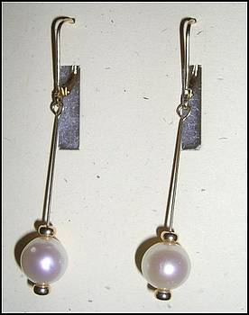 14k Gold Pearl Earrings by Ann Mooney