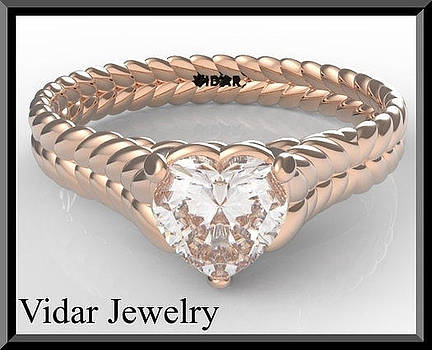 14k Rose Gold Heart Engagement Ring With Solitaire Moissanite by Roi Avidar