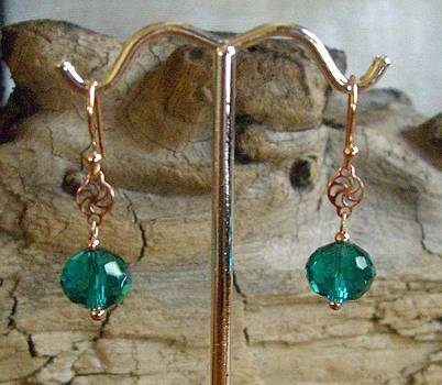 14k Rose Gold Plated Copper Swarovski Earrings by Ann Mooney