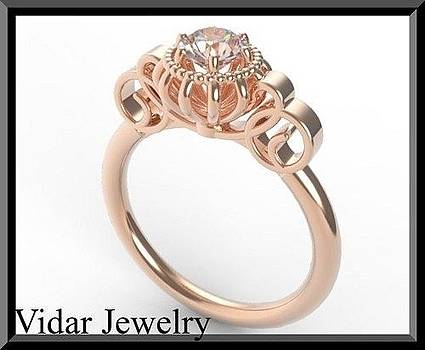 14k Rose Gold Queen Engagmenet Ring With Pink Morganite by Roi Avidar