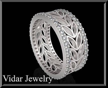14k White Gold Diamond Leaf Woman Wedding Ring by Roi Avidar