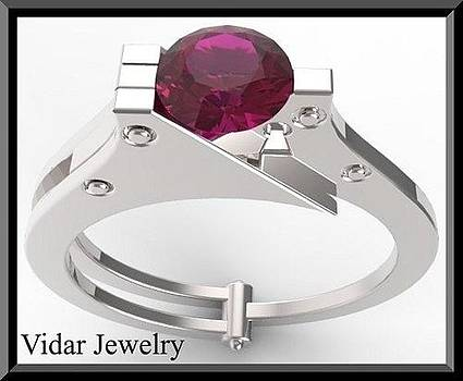 14k White Gold Handcuffs Engagmenet Ring With Red Ruby by Roi Avidar