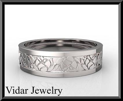 14k White Gold Lotus Flower Men's Wedding Ring by Roi Avidar