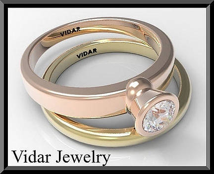 14k Yellow And Rose Gold Diamond Wedding Ring And Engagement Ring Set by Roi Avidar