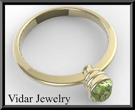 14k Yellow Gold Engagement Ring with Green Peridot by Roi Avidar