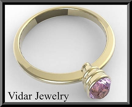 14k Yellow Gold Engagement Ring with Purple Amethyst by Roi Avidar