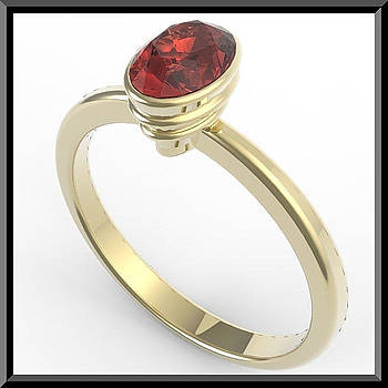 14k Yellow Gold Engagement Ring with Red Garnet by Roi Avidar