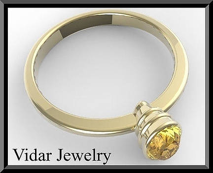 14k Yellow Gold Engagement Ring with Yellow Citrine by Roi Avidar
