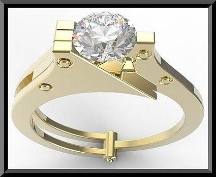 14k Yellow Gold Handcuffs Engagmenet Ring With White Sapphire by Roi Avidar