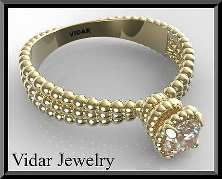 14k Yellow Gold Spiral Engagement Ring With Solitaire Moissanite by Roi Avidar