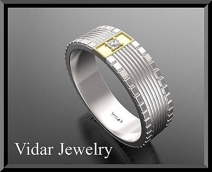 14kt White Gold Men's Wedding Ring with Yellow Channel Set Diamond by Roi Avidar